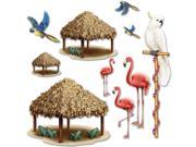 "Club Pack of 120 Insta-Theme Luau Themed Tiki Hut and Tropical Bird Luau Photo Props 50"""""" 9SIA09A36E0379"