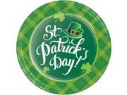 "Pack of 96 Dark Green and Light Green St. Patrick's Day Printed Rounded Plate 8.875"""""" 9SIA09A74N8202"