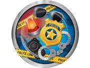 """Club Pack of 96 Blue and yellow Police Party Round Dinner Plate 8.8"""""""""""" 9SIA09A7500425"""