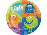 "Club Pack of 96 Green and Blue Fun Monsters Rounded Dinner Plate 8.8"""""" 9SIA09A7588958"