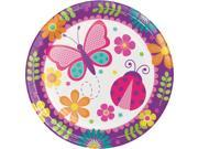 "Club Pack of 96 Garden Butterfly, Ladybug and Flowers Dinner Party Plates 8.75"""""" 9SIA09A7589470"