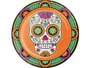 "Pack of 96 Orange and Green Day of the Dead Disposable Party Dinner Plate 8.75"""""" 9SIA09A7612290"
