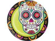 """Pack of 96 Green and Black Day of the Dead Disposable Party Dinner Plate 8.75"""""""""""" 9SIA09A7636244"""