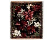 "Poinsettia N' Plaid Christmas Holiday Tapestry Throw Blanket 50"""" x 60"""""" 9SIA09A03H9292"