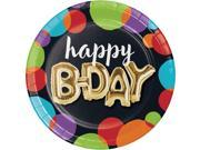 Pack of 96 vibrantly colored dots with metallic gold birthday Balloon luncheon plate 6.8� 9SIA09A77U0383