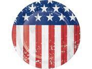 "Pack of 96 Blue and Red American Flag Designed Circular Luncheon Plate 6.875"""""" 9SIA09A7B95759"
