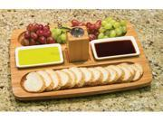 Serving your guests in style is one of the fun parts of entertaining. This bamboo serving tray with two ceramic dishes has two cut away areas that are perfect for arrange snacks or appetizers. The pepper mill in the middle allows guests to season their own food depending on their personal tastes. Use the ceramic dishes to hold olive oil, dipping sauces, or dips. The serving tray is classically designed to fit any home decor and personal style. Easy to clean and durable for years of use. Brand: Lipper International Type: Storage and Organization Color/Finish: As Shown Color Mapping: As Shown