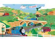 Thomas the Train Chair Rail Prepasted Mural 6' x 10.5'