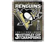 "Pittsburgh Penguins NHL 3X Champs Commemorative Woven Tapestry Throw (48x60"""")"""""" 9SIA17P37J8137"
