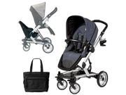 Peg Perego Skate Stroller Pram System with Skate Jumper Seat and Fashionable Diaper Bag - Denim