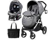 Peg Perego Book Plus Stroller Travel System with a Diaper Bag - Pois Grey   Charcoal Grey Dots