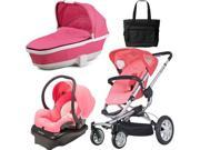 Quinny CV155BFX Buzz 4 Travel System and Tukk Bassinet in Pink with Diaper Bag