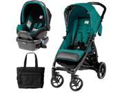 Peg Perego - Booklet Stroller Travel System with Diaper Bag - Aquamarine
