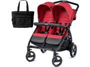 Peg Perego - Book for Two Mod Red  Embossed Frabric  With Diaper Bag