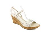 David Tate Flower Women US 10.5 White Open Toe Wedge Sandal