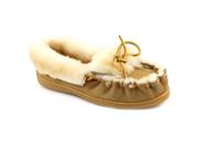 Minnetonka Sheepskin Women US 10 Brown Moc Moccasin Slippers Shoes