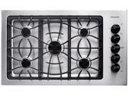 """36"""" Gas Cooktop with 5 Sealed Burners, Cast Iron Continuous Grates, Low Simmer Burner and Ready-Select Controls: Stainless Steel"""