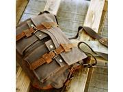 Men's Vintage Canvas and Leather Satchel School Military Shoulder Bag Messenger - Gray
