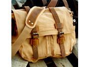 Men's Vintage Canvas and Leather Satchel School Military Shoulder Bag Messenger - Khaki
