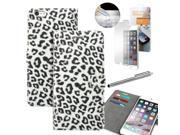 "GEARONIC TM Luxury Magnetic Credit ID Card Holder Leopard Wallet Case Cover Flip Stand Pouch for Apple iPhone 6 Plus 5.5"" with Free Tempered Glass Screen Guard - White"