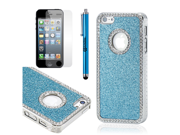 Light Blue Luxury Bling Glitter Chrome Crystal Rhinestones Hard Back Case for iPhone 5 + Stylus Pen and Screen Protector