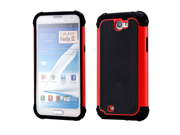 2 Piece Red Black Hybrid Rugged Hard PC Soft Silicone Back Case Cover for Samsung Galaxy Note II N7100