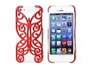 Red Chrome Electroplating Rhinestones Hollow Butterfly Pattern PC Hard Back Case Cover for iPhone 5 5S