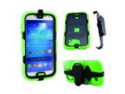 Green Black 3 Layer Silicone Hard PC Case Cover Shell with Belt Clip Stand for Samsung Galaxy S4 i9500