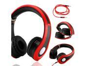 Gearonic ™ Carbon Fiber Print Adjustable Circumaural Over-Ear Earphone Stero Headphone 3.5mm for iPod MP3 MP4 PC iPhone Music - Black and Red