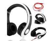Gearonic ™ Carbon Fiber Print Adjustable Circumaural Over-Ear Earphone Stero Headphone 3.5mm for iPod MP3 MP4 PC iPhone Music - Black and White