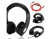 GEARONIC TM Carbon Fiber Print Adjustable Circumaural Over-Ear Earphone Stero Headphone 3.5mm with Microphone Cable for iPod MP3 MP4 PC iPhone Music - Black