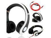 GEARONIC TM Carbon Fiber Print Adjustable Circumaural Over-Ear Earphone Stero Headphone 3.5mm with Microphone Cable for iPod MP3 MP4 PC iPhone Music - Black and White