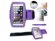 """GEARONIC TM Premium Running Jogging Sports Workout Gym Armband Sportband Pouch Case Cover Holder for iPhone 6 Plus 5.5"""" with Free Tempered Glass Screen Guard - Purple"""
