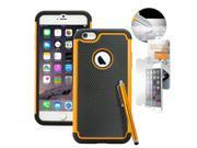 """GEARONIC TM Heavy Duty Hybrid Rugged Silicone PC Shockproof Dirt Dust Proof Hard Case Cover For Apple iPhone 6 Plus 5.5"""" with Free Tempered Glass Screen Guard - Orange"""
