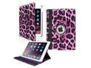 GEARONIC TM 2014 Apple iPad Air 2 360 Degree Rotating Stand Smart Cover PU Leather Swivel Case Purple Leopard