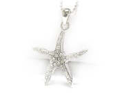 White Gold Plated Starfish with Crystals Pendant Necklace Fashion Jewelry