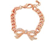 Rose Goldtone Clear Rhinestone Bow Tie Charm Bracelet