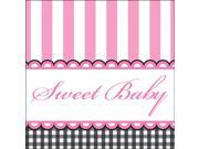 Sweet Baby Feet Pink Beverage Napkins (16 Pack) - Party Supplies
