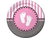 Sweet Baby Feet Pink Luncheon Plates  (8 Pack) - Party Supplies