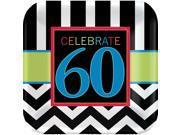 """Chevron Mix 60th Birthday 9"""""""" Luncheon Plate (8 Pack) - Party Supplies"""" 9SIA0BS2YX9476"""