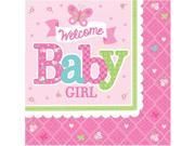 Welcome Little One Girl Beverage Napkin (16 Count) - Party Supplies 9SIA0BS3V26473