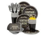 Vintage Dude Standard Tableware Kit (Serves 8) - Party Supplies 9SIA0BS2YX9572