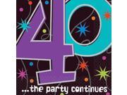 The Party Continues 40th Birthday Napkins - Party Supplies 9SIA0BS6WH2768