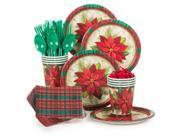 Plaid Poinsettia Standard Christmas Tableware Kit Serves 8 - Party Supplies 9SIA0BS49K3409