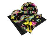 Glow Birthday Party Deluxe Tableware Kit (Serves 8) - Party Supplies 9SIA0BS44G8761