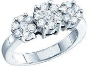 0.33CTW  DIAMOND  3 FLOWER RING