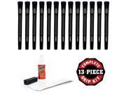 Avon Chamois Standard Black - 13 piece Golf Grip Kit (with tape, solvent, vise clamp)