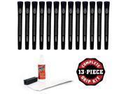 Avon Chamois Jumbo Black - 13 piece Golf Grip Kit (with tape, solvent, vise clamp)