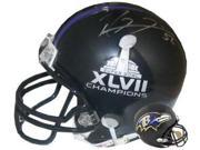 Ray Lewis signed Baltimore Ravens Super Bowl XLVII/Baltimore Ravens Replica Mini Helmet (left sig) 9SIA0CY1MD0486
