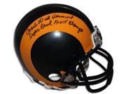 Dick Vermeil signed St. Louis Rams TB Replica Mini Helmet w/ dual Coach & Super Bowl XXXIV Champs 9SIA0CY24N1276